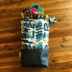 SturKnopf Tasche petrol Streifen und Leder