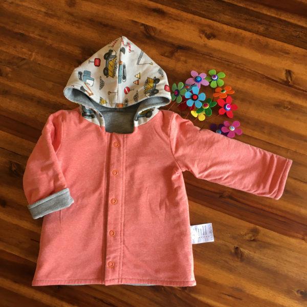 SturKnopf Jacke BabyJumi Groesse 80 grau orange gewendet vorne